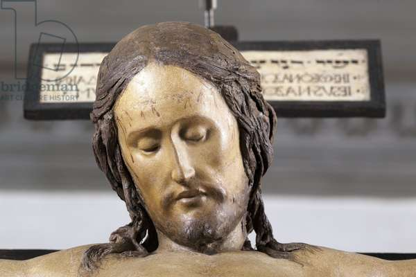 Holy Spirit Crucifix, circa 1493, by Michelangelo (1475-1564), detail, sculpture in polychrome wood, Sacristy of the Basilica of Santo Spirito in Florence - Crucifix. Renaissance sculpture by Michelangelo Buonarroti dit Michel Ange (Michelangelo or Michelangelo, 1475-1564), detail, 1492. Church Santo Spirito, Florence.