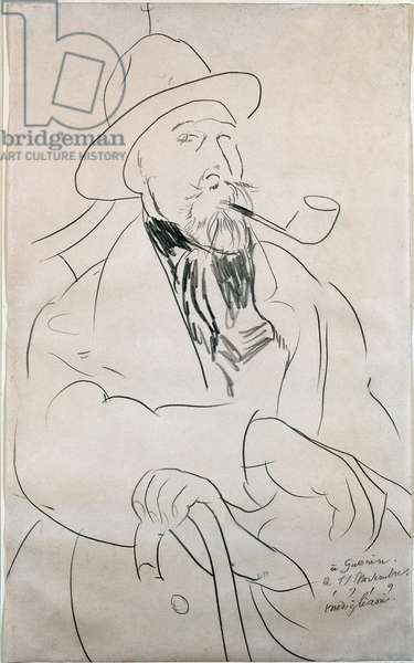 Charles Guerin. Portrait of Charles Guerin (1873-1907), French poet. Drawing by Amedeo Modigliani (1884-1920), 1919. New York, Museum of Modern Art