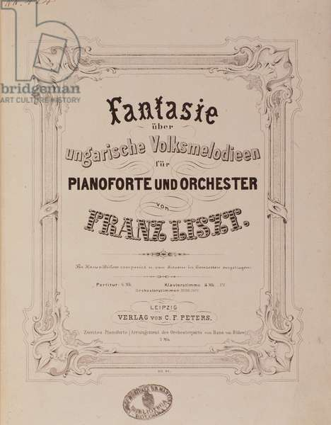 "Frontispice of the score """" Fantaisie pour piano et orchestre"""" by Franz Liszt (1811-1886) 19th century Bologna, civico museo musicale"