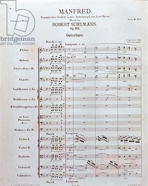 """Sheet music of the Opening of """"Manfred"""" (opus 115) by German composer Robert Schumann (print)"""
