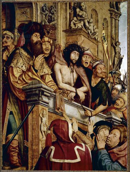 Ecce Homo Pontius Pilate (Pontius Pilatius) presenting Christ to the crowd of Jews. painting by Quentin Metsys (1466-1530) (ec.flam.) 16th century Sun. 1,6x1,2 m Madrid, Musee du Prado)