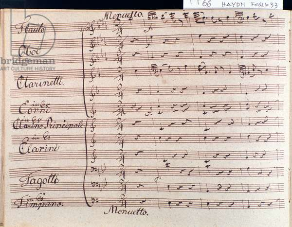 First page of musical score of minuet in  Symphony 66 in B flat major by J Haydn