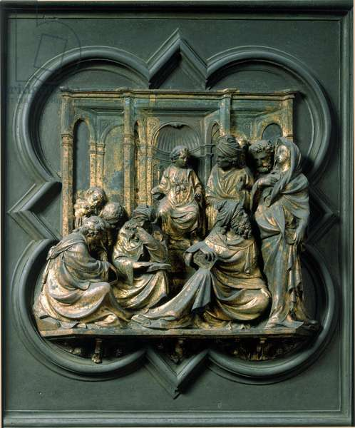 North Gate (called Gate of the Cross, to the North), exterior detail: Jesus among the doctors. Bronze sculpture made by Lorenzo Ghiberti (1378-1455), 1424. Baptistere San Giovanni, Florence