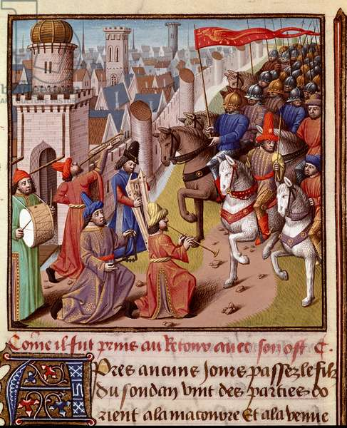 """Crusade: return of the French army of the Holy Land. Miniature in """""""" Le miroir historial"""""""" (Speculum Historiale) (ms. 1196, fol. 372) by Vincent de Beauvais (1190-1264) translated into French by Jean de Vignay, 15th century. Chantilly, Musee Conde"""