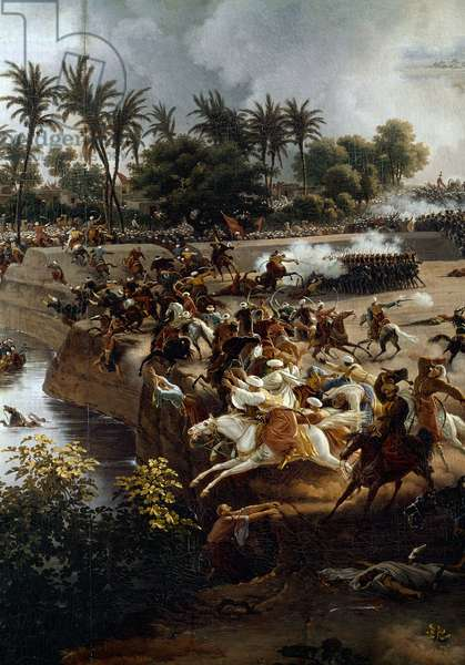 """Campaign (Expedition) of Egypt (1798-1801): """""""" The Battle of the Pyramids, July 21, 1798"""" Painting by Louis Francois Lejeune (1775-1848) detail, 1806. Versailles, musee du chateau - Campaign of Egypt (1798-1801): """""""" The Battle of the Pyramids, July 21, 1798"""""""" Detail of the painting by Louis Francois Lejeune (1775-1848), 1806. Castle Museum, Versailles, France."""