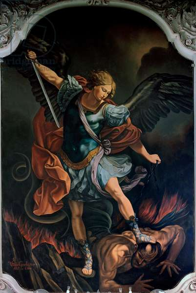 The Archangel Saint Michael Terrassing the Dragon Painting by V. M. De Girolamo (20th century) after Guido Reni. 1957