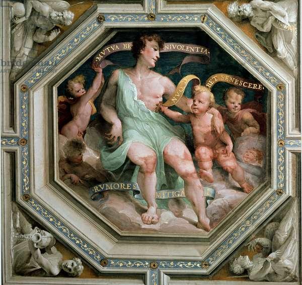 La mutua benevolenza o concordia (Reciproque benevolence or concord). Painting by Domenico Beccafumi (1486-1551), 1529-1535. Octagonal fresco. Italy, Siena, Public Palace (Siena, Palazzo Pubblico)