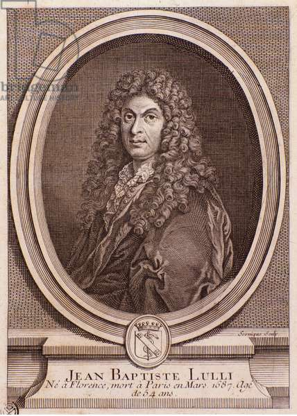 "Portrait of Jean Baptiste Lully (Jean-Baptiste Lulli) english composer (1632-1687) Engraving from """" Bellerophon"""". 1714. Milan, biblioteca del conservatorio"