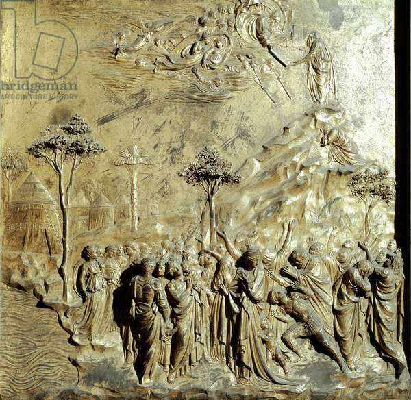 Moses receiving the tables of the law Original panel of the Gate of Paradise (East Gate of the Baptistere), after restoration. Gold bronze by Lorenzo Ghiberti (1378-1455), 1425-52. Dim. 79x79 cm Museo del 'Opera del Duomo, Florence.