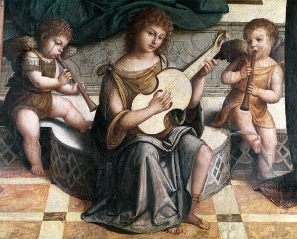 Virgin and Child, Saints and Angels Musicians detail Painting by Nicolo Pisano (1470-?) 1512-1514 (The Virgin and the child with musician angels, painting by Nicolo Pisano) Dim 225x173 cm Milan Pinacoteca di Brera Italy