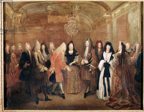 King of France Louis XIV receives the prince Frederick Augustus I in the castle of Fontainebleau (Painting, 1715)