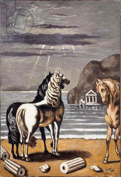 Two horses on sea background, 1964 (oil on canvas)