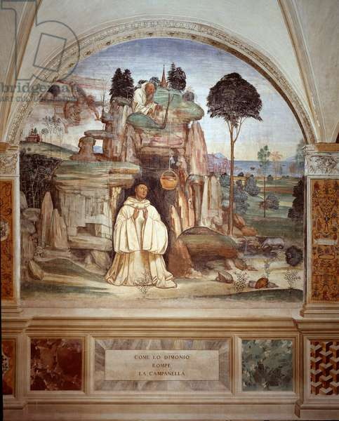 The demon breaks the bell - The demon breaks the bell fresco of the cloister made by Antonio Bazzi dit il Sodoma (1477 - 1549) recounting the life of Saint Benedict of Nursie (480 - 567) founder of the Order of Benedictine 1503 - 1508 Abbey of Monte Oliveto Maggiore, Florence