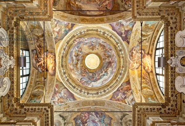The dome with the representation of the Coronation of the Virgin, detail, last twenty-seventeenth century (fresco)