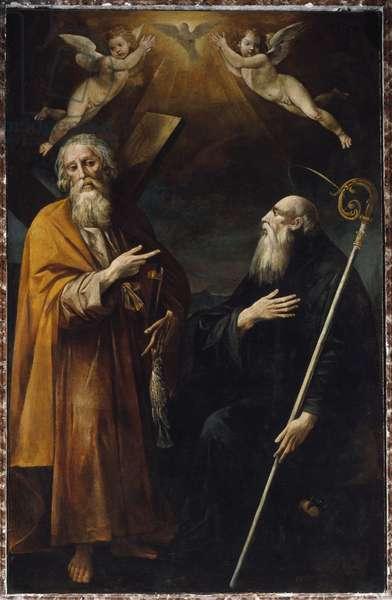 Representation of Saint Andre and Saint Benedict of Nursie (Painting, 17th century)