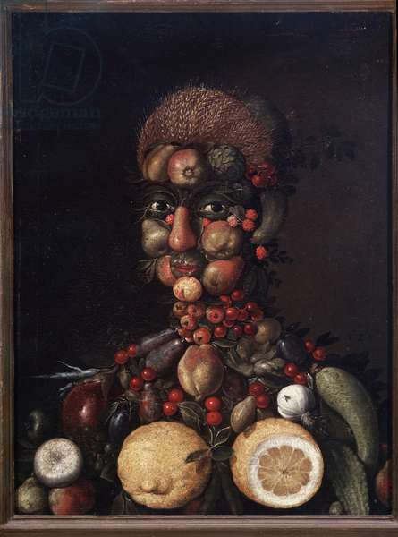 Character in the way of Arcimboldo composed of fruits and vegetables (Human figure made of fruits and vegetables) Painting of the school of Giuseppe Arcimboldi (Arcimboldo) (1527-1593) 16th century Naples, museo di Capodimonte