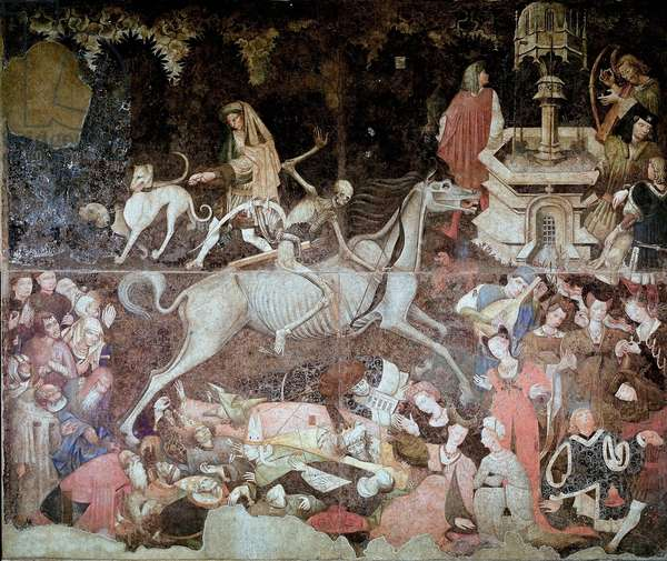 The Triumph of Death The death represented on a horse is apprehend to strike with its arrows. Anonymous fresco of the 15th century Palermo Galleria Nazionale della Sicilia