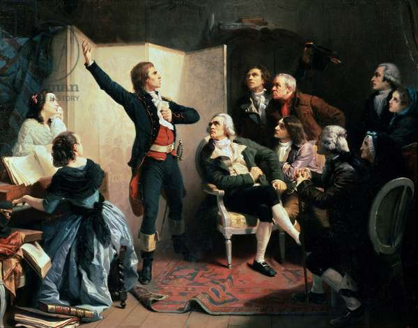 "La Marseillaise. Rouget de Lisle (or Rouget de L'isle, 1760-1836) sings for the first time ""La Marseillaise"", French national anthem in Strasbourg. Painting by Isidore Pils (1813 - 1875) 1849. Oil on canvas. Musee historique de la ville de Strasbourg - The poet and composer Claude Joseph Rouget de Lisle (1760-1836) performing the Marseillaise, April 24, 1792,"