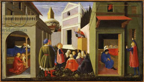 Altarpiece of the life of Saint Nicholas: birth, vocation, charity to the three poor girls (oil on wood, 1437)