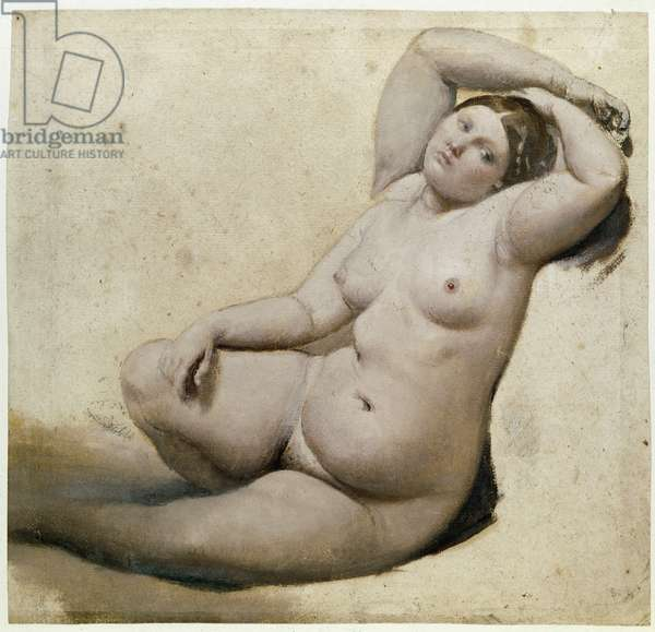 Study for the Turkish bath: The Woman with the Three Arms - Painting by Jean Auguste Dominique Ingres (1780-1867) oil on paper, 25x26 cm, circa 1860. Montauban, Musee Ingres