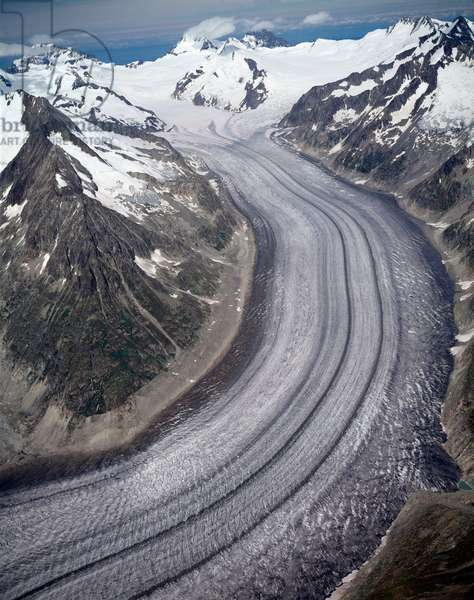 Aerial view of Aletschgletscher, canton of Valais, 1990 ca - Photography