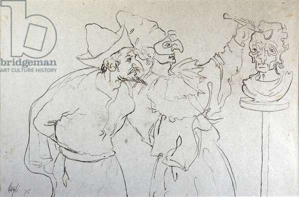 Pulcinella sculpture, 1976 (oil on paper)