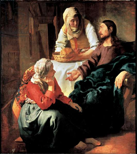 Christ Visiting Mary and Martha Painting by Jan Vermeer (1632-1675) 1664-1665 Sun. 160x141 cm Edinburgh, National Gallery of Scotland