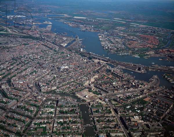 Aerial view of the city and harbour, 1990 ca - Photography