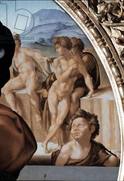 "Tondo Doni: """" The Holy Family with Saint John the Baptist Child"""" detail (the holy family with st John Baptist) Painting by Michelangelo Buonarroti dit Michelangelo (Michelangelo or Michelangelo, 1475 - 1564) 1504-1506 Diam 120 cm Florence, Galleria degli Uffizi (Offices)"