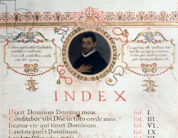 Index page with portrait of Giovanni Giacomo Gastoldi, 16th centruy