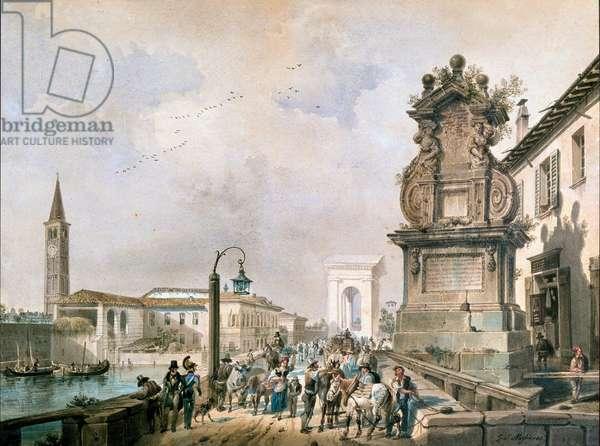 View of Trofeo bridge over naviglio Pavese, Milan (watercolour, 19th century)