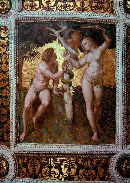 Adam and Eve Fresco by Raffaello Sanzio dit Raphael (1483-1520) 1508 Sun. 120x105 cm Chamber of Signature (Segnatura) Palazzi Vaticani. Vatican City, Monumenti, Musei and Gallerie Pontefici.