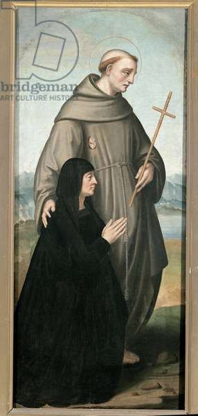 Saint Francois de Paule (1416-1507) and a fidele (St. Francis of Paola with a devoted). Painting by Marco d'Oggiono (ca. 1475-ca. 1530). Milano, Pinacoteca di Brera