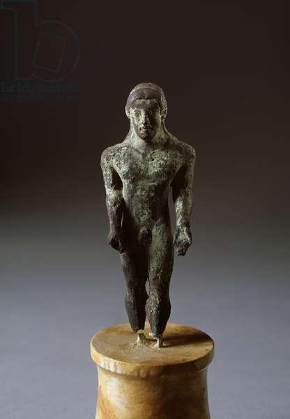 Etruscan civilization: kouros - Bronze sculpture, 500-480 BC Dim 25 cm From Lignano, Italy (Etruscan art, kouros, bronze sculpture, from Lignano, Italy, 500-480 BC, Dim 25 cm) Copenhagen, Nationalmuseet
