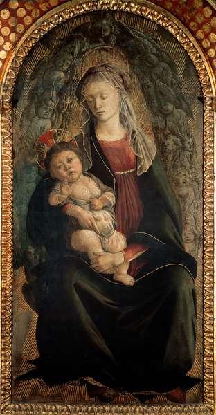 Virgin and Child in glory surrounded by Seraphin angels Detrempe on wood by Alessandro di Mariano dei Filipepi, dit Sandro Botticelli (1445-1510) 1469-1470 Dim. 120x65 cm Florence Galleria degli Uffizi (Uffizi)