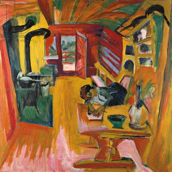 ALpine Kitchen - oil on canvas, 1918