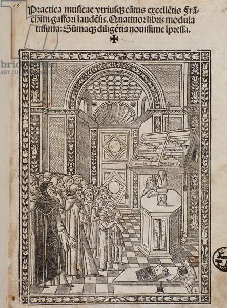 "Frontispiece of treatise ""Practica musicae"" by Franchini (Franchino) Gaffurio (Franchinus Gaffurius) (1451-1522)"