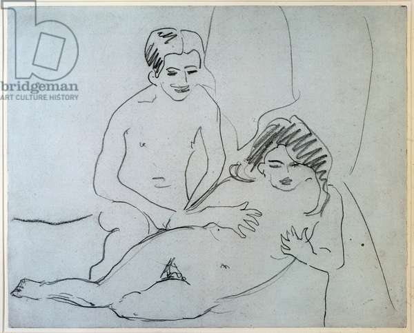 A Naked Couple Lying On A Bed (Drawing, 20th century)