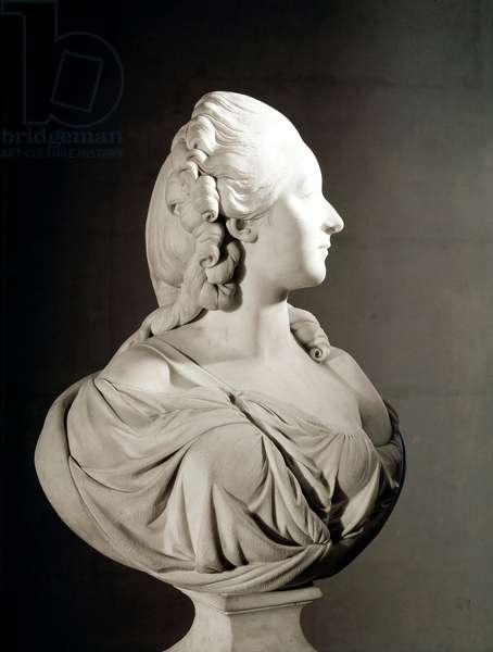 Portrait of Jeanne Becu, Countess (or Madame) du Barry (1743-1793) Marble sculpture by Augustin Pajou (1730-1809) Paris, Musee du Louvre - Madame du Barry (born Marie Jeanne Becu, 1743-1793), by Augustin Pajou (1730-1809). Marble, H71cm, 1773. Louvre Museum, Paris, France