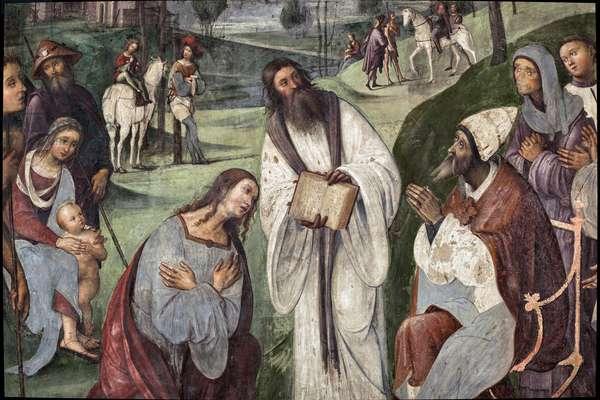 Life of St. Cecile: Urban I invites Valerian to convert, detail  (fresco, 1506)