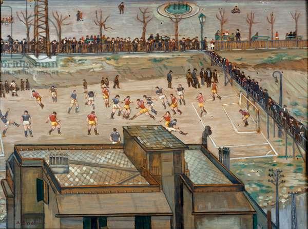 The football match final. Painting by Armando Barabino (1883-1970) Genes, Galleria d'Arte Moderna