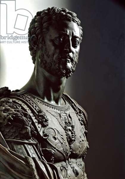 Bust of Grandduke Cosimo I de 'Medici (1519-1574) - Bronze statue (h. 110 cm) by Benvenuto Cellini (1500-1571), Ca. 1545-1547 - Bronze bust of Cosimo I de Medici (Cosimo I de Medici, 1519-1574) - Sculpture by Benvenuto Cellini (1500-1571), Italian manierist, 1500-1571), Italian manierist, 1545 - Florence. Museo Nazionale del Bargello