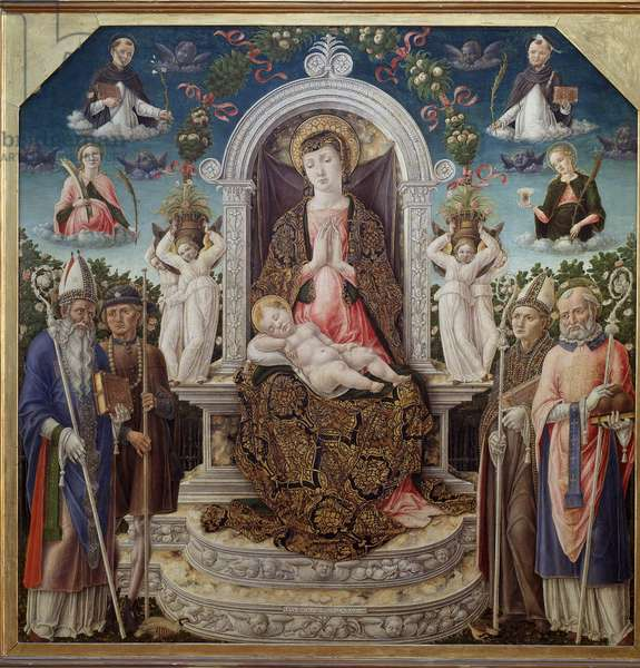 Virgin and Child on the throne surrounded by Saint Augustine, Saint Roch, Saint Louis of Toulouse (Anjou), Saint Nicholas of Myre and in heaven Saint Catherine, Saint Dominica, Saint Peter the Martyr (Verona) and Saint Mary Madeleine (Virgin with child with saint Augustine, St Roch, St Louis of Toulouse, St Nicholas and in the sky, St Catherine, St Dominic, St Dominic, St st Peter of Verona, st Mary Magdalene) Painting by Bartolomeo Vivarini (ca. 1432-after 1491) 1465 Dim 118x120 cm Naples Museo Nazionale di Capodimonte