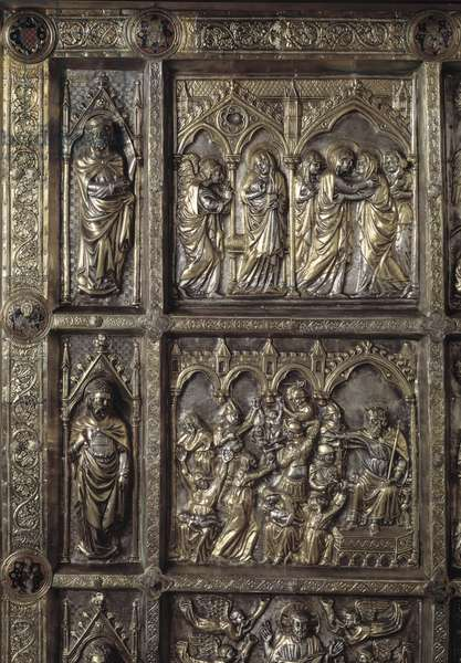 Silver Altar of Saint James the Major. Detail of the antependium decore of stories of the New Testament, massacre of the innocent, annunciation and visitation, 1287-1456