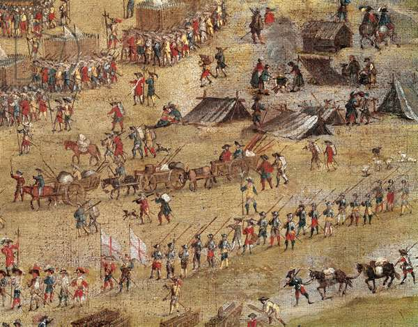 Siege of La Rochelle, 10th August 1627-28th October 1628 - Le siege de la Rochelle (France), from January 10, 1627 to October 28, 1628, detail of Richelieu's troops (Armand Jean Du Plessis, 1585-1642). Anonymous painting, Oil on canvas, circa 1640. National Museum of Versailles (France).