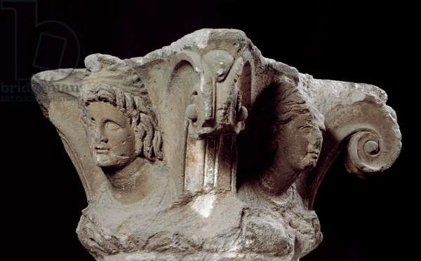 Etruscan civilization: decorated column capitals from the tomb Campanari a Vulci, Italy. End 4th, beginning 3rd century BC. Florence, Museo Archeologico