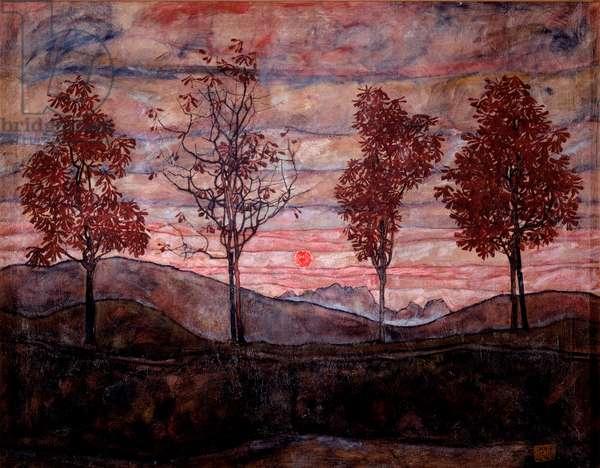 Four trees. Painting by Egon Schiele (1890-1918), 1917. Oil on canvas. Dim: 140,5x110cm. Vienna, Oesterreichische Galerie im Belvedere