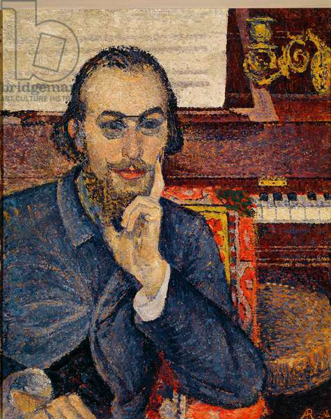 Portrait of Erik Satie (1866-1925), French composer and pianist. Painting by Antoine de la Rochefoucauld (1861-1940), 1894. Oil on canvas. Sun: 64x52cm. Paris, Fondazione Erik Satie. Reserved rights (Attention! The use of this work may be subject to a request for authorization to a third party or to the payment of additional fees).