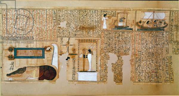 Egyptian antiquitis: fragment of the Book of the Dead, papyrus of Nebqed. Detail representing the weight of souls. 18th dynasty. 1400-1350 BC. Paris, Louvre Museum