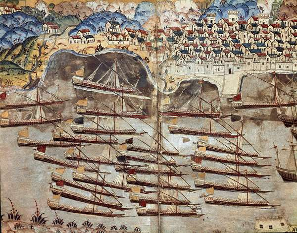 The fleet of Hayreddin Barbarossa, privateer, facing the city of Nice. 1558 (miniature)